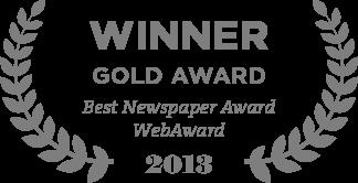 Winner Gold Award Best Newspaper Award WebAward 2013