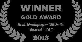 Winner Gold Award Best Newspaper Website Award - IAC 2013
